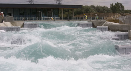 Water flowing at London 2012 Canoe Slalom venue
